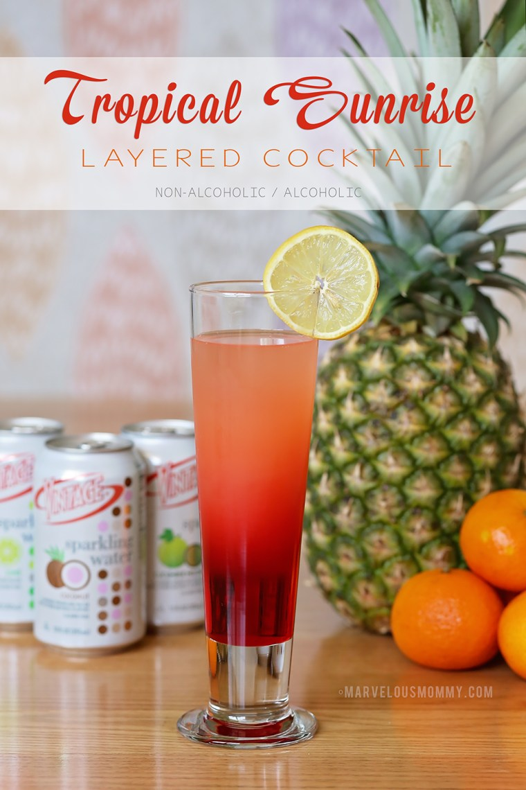 Tropical Sunrise Layered Cocktail