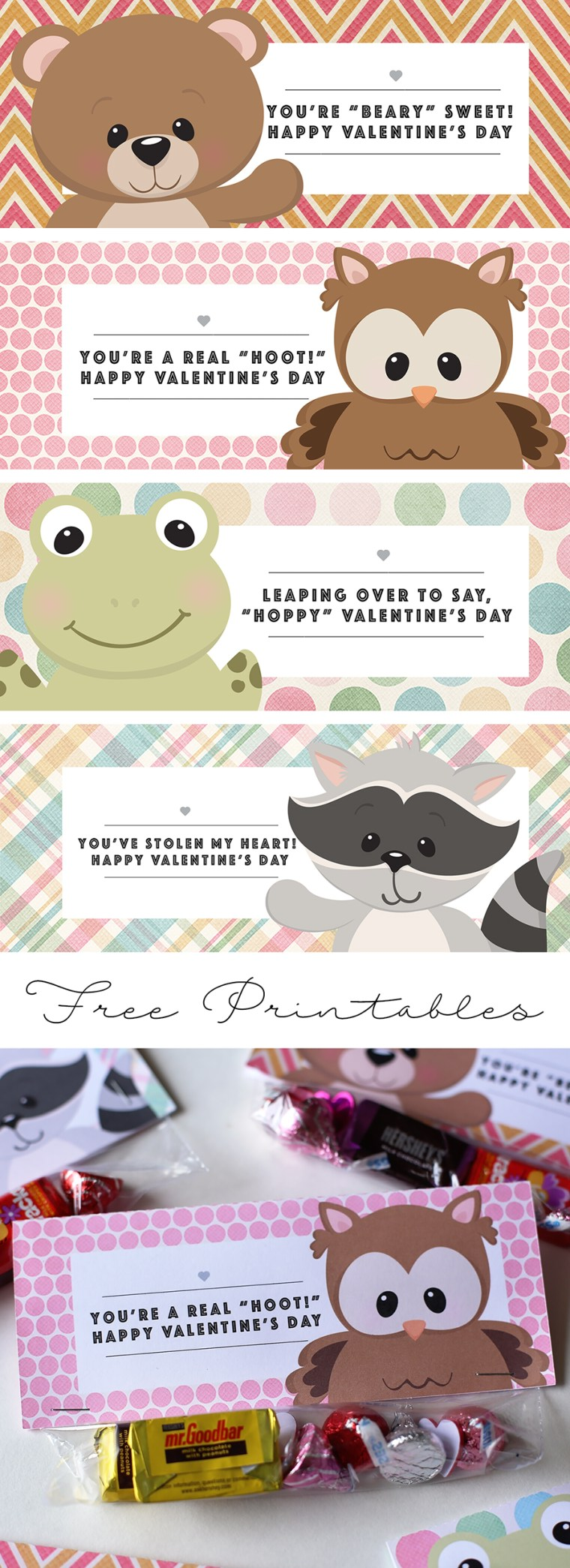 Woodland Animal Friends Valentine's Day Treat Bag Topper | Free Printable