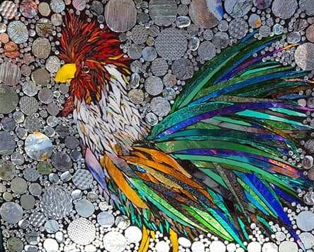 Rooster Glass on Glass Mosaic by Kory Dollar of Marvelous Mosaic Fine Art