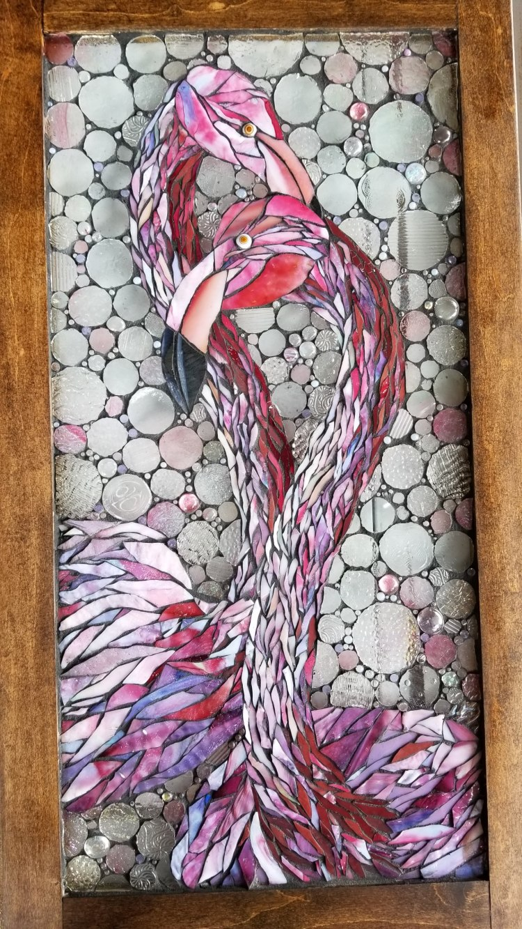 flamingos by Kory Dollar of Marvelous Mosaic