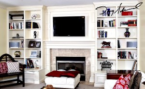 custom fireplace mantel_drawerbenchcabinets | Placing a TV