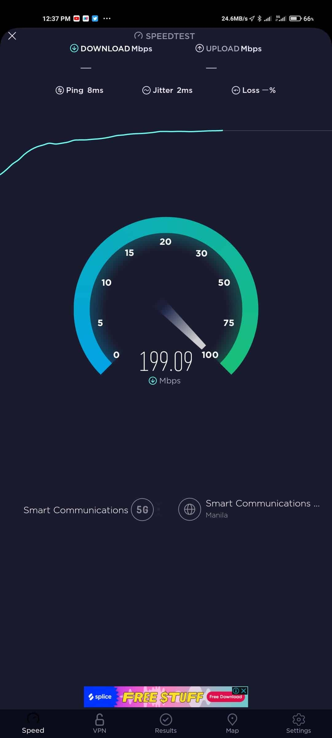 Mi 10T Pro Speedtest on Mobile