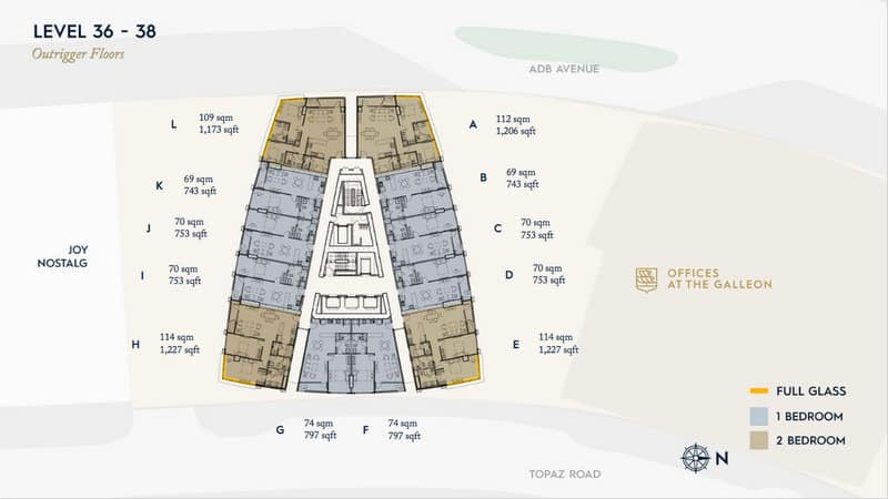 Offices LEVEL 36-38 Outrigger Floor Plan