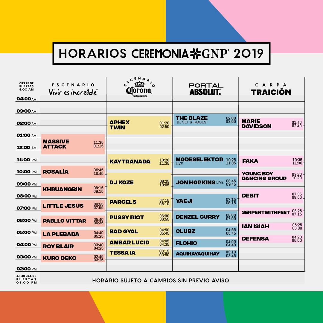 Horarios Ceremonia 2019