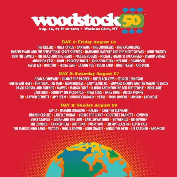 Cartel completo de Woodstock 2019.