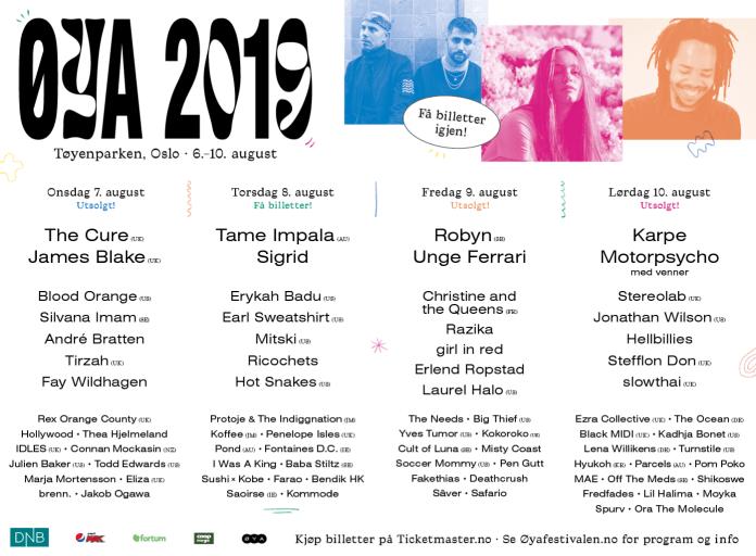 ØYA 2019 festival boletos noruega oslo