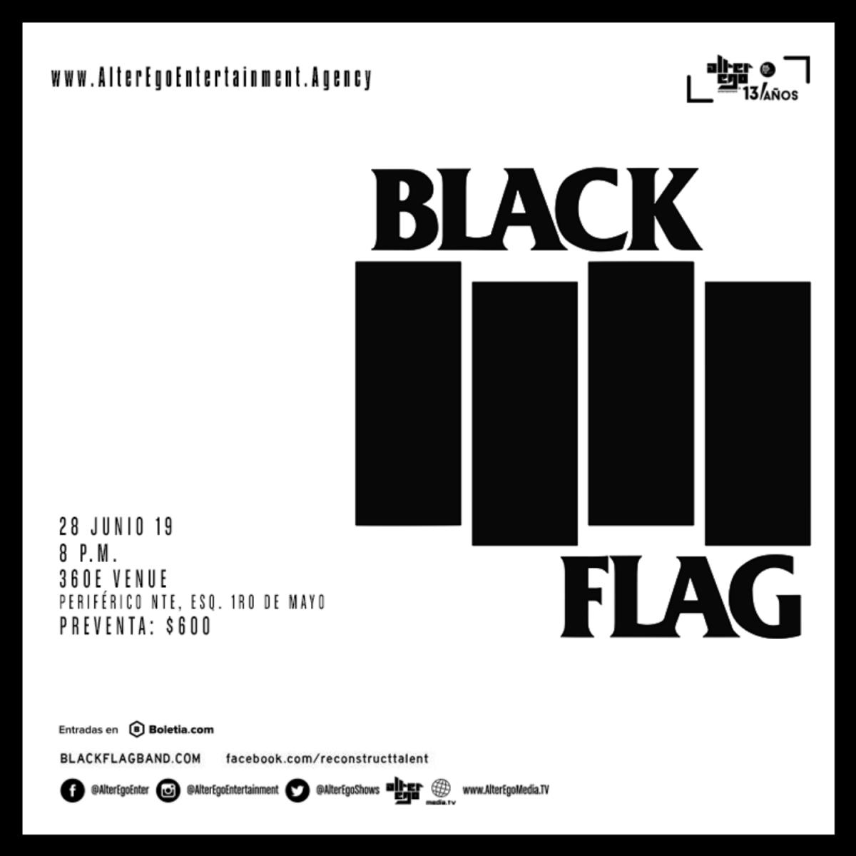 black flag concierto boletos 28 junio