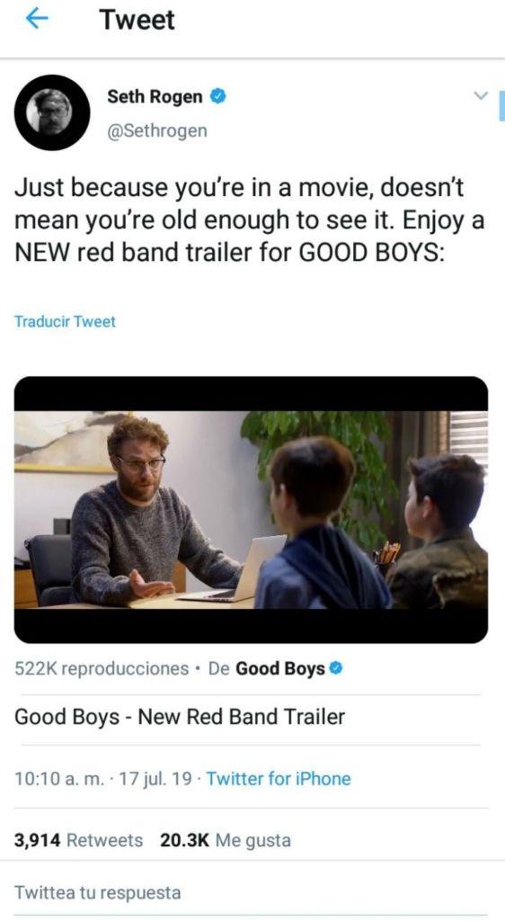 good boys Seth Rogen trailer película cinta teaser adelanto