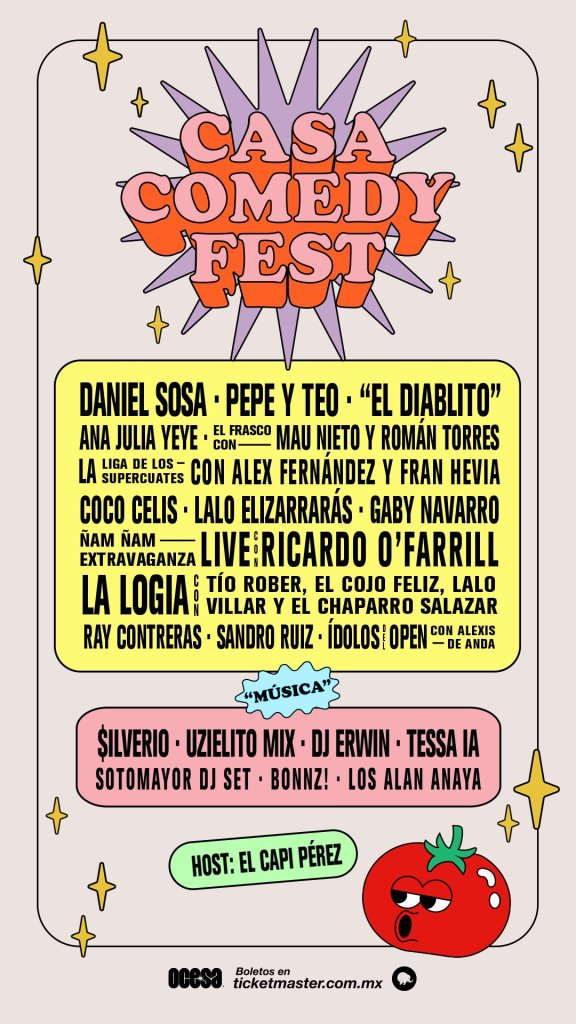 Ricardo O'Farrill, Daniel Sosa, Alex Fernández, Tessa Ia y Bonnz! serán parte de la segunda edición de Casa Comedy Fest