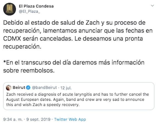 beirut concierto mexico cancelado reembolso el plaza condesa