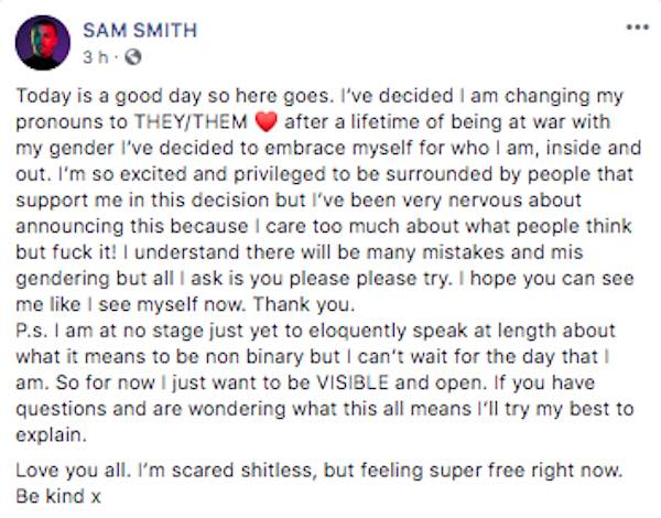 sam smith no binario comunicado elle facebook 2019