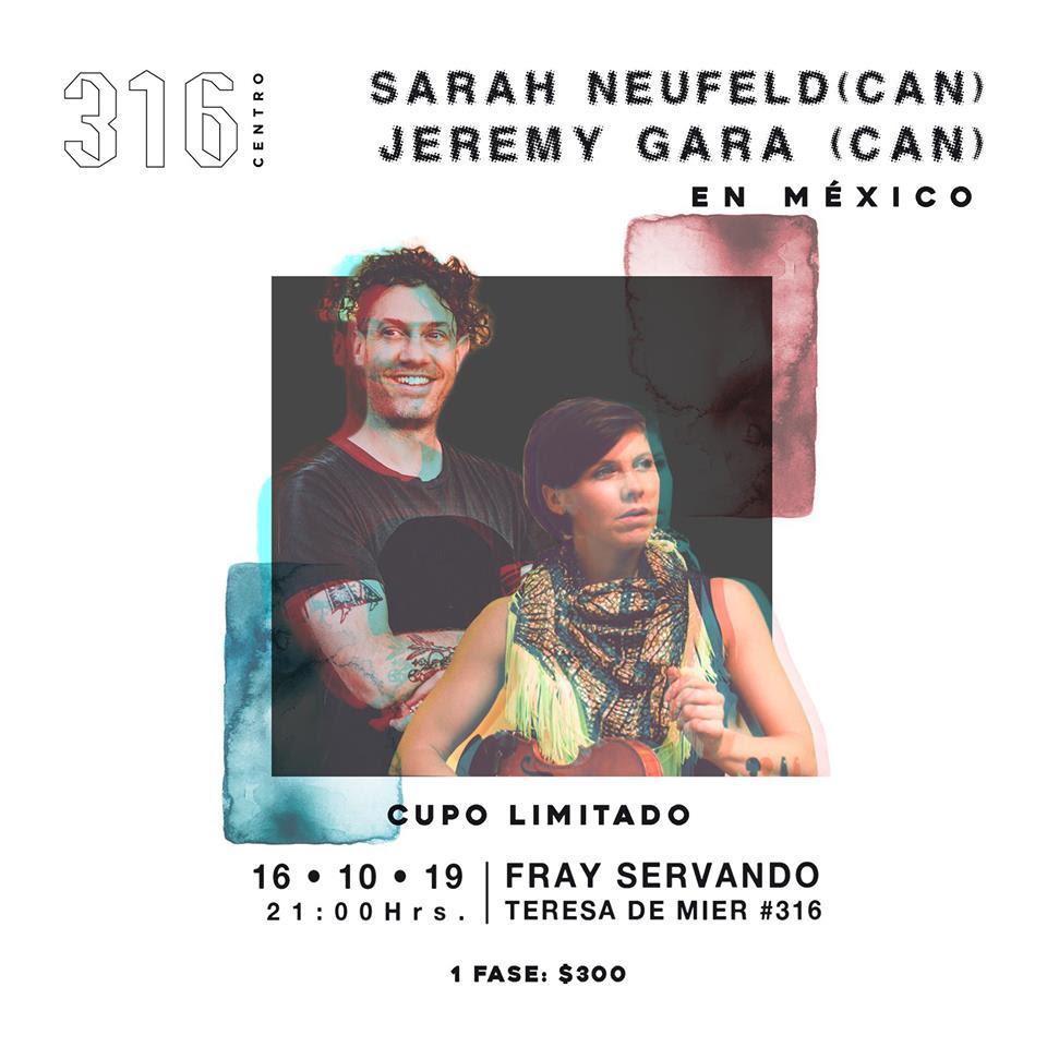 Sara Neufeld y Jeremy Gara de Arcade Fire darán un show especial en 316 Centro