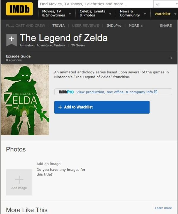 the legend of zelda nueva serie netflix nintendo imdb