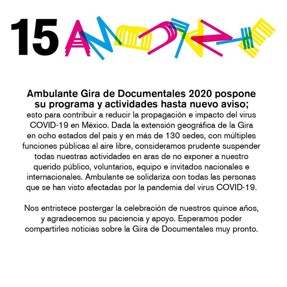 Ambulante 2020 también pospone su edición número 15