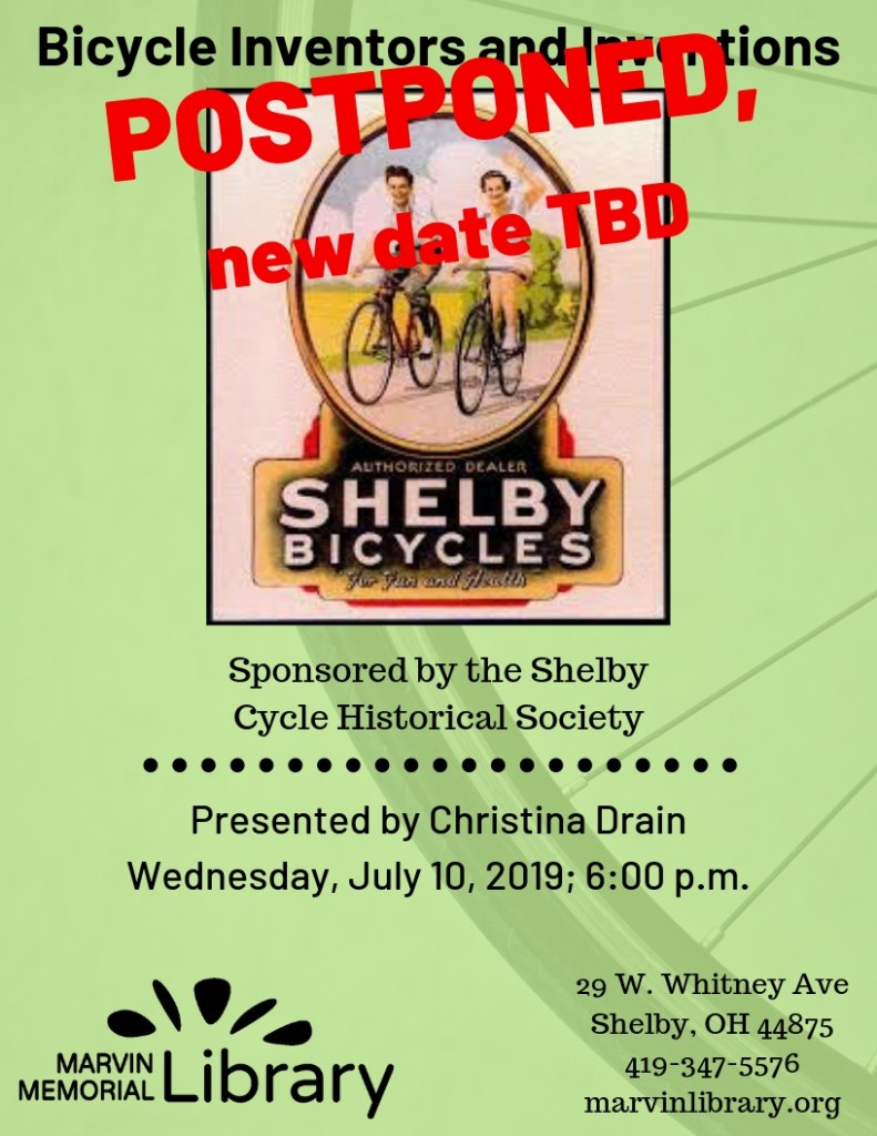 Postponed! Bicycle Inventors and Inventions @ Marvin Memorial Library