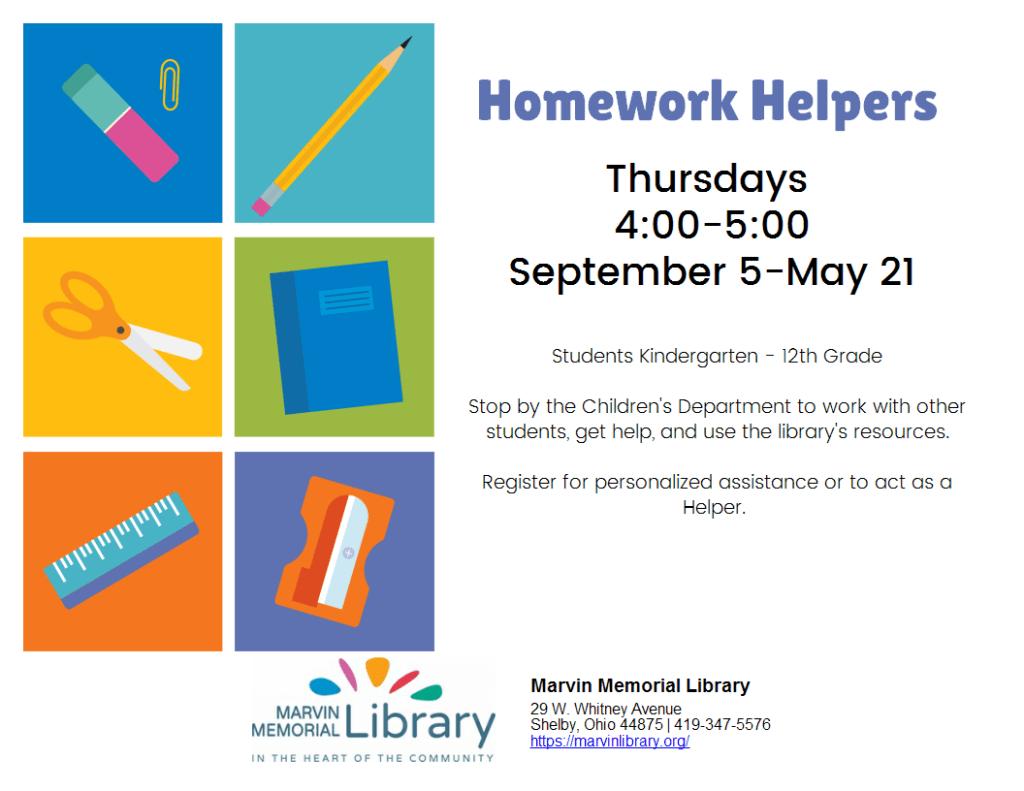 Homework Helpers @ Marvin Memorial Library