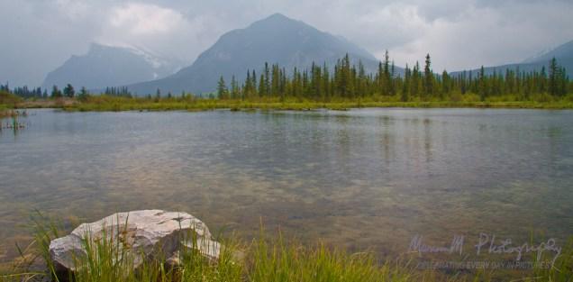 Overcast day over Vermillion Lake; Banff Alberta, Canada