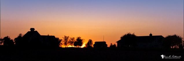 sunset, farm, silloette