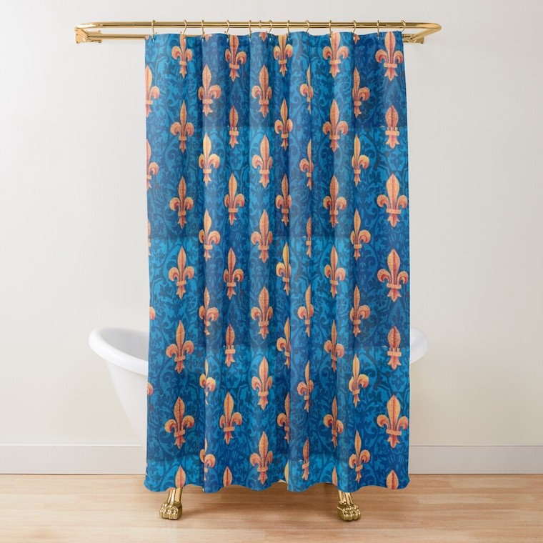 blue sword shower curtain