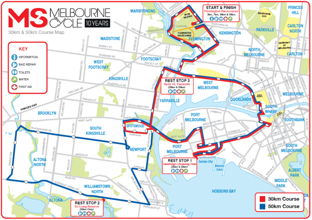 MS Cycle 2016 Event Map