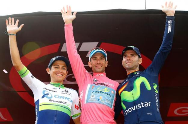 Chaves, Nibali and Valverde on the Giro Podium in Torino.
