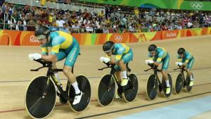 The men's Pursuit team in action on the velodrome.