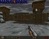 O primeiro level do Mission Pack de Chasm começamos em meio a um forte de madeira e o clima é frio. A chuva que vimos na primeira fase do jogo normal foi transformada em neve.