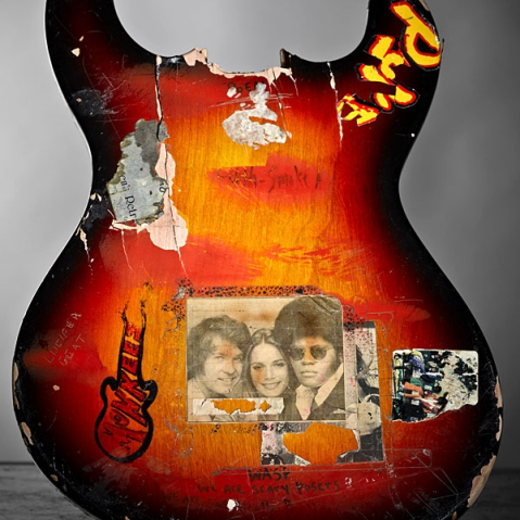 guitar smashed in 1988, notice the Monkees tag (R.I.P. Davy Jones)