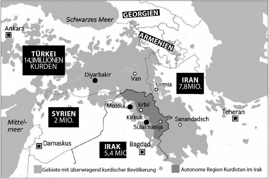 Das größte Volk der Erde ohne eigenen Staat: Weltweit leben etwa dreißig Millionen Kurdinnen und Kurden, die meisten von ihnen in der Türkei. Aber auch im Iran, Irak und Syrien gibt es bedeutende kurdische Minderheiten