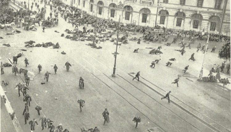 Revolucion Rusa ametrallan a los opositores en San Petrsburgo Av. Newsky