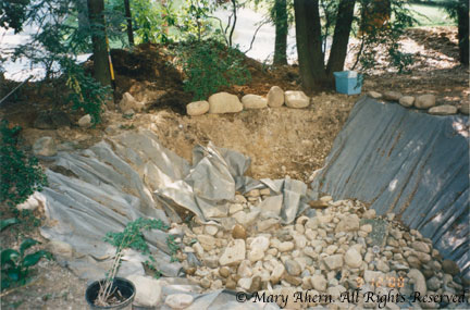 The garden rocks begin to accumulate in the dry stream bed from months of gardening