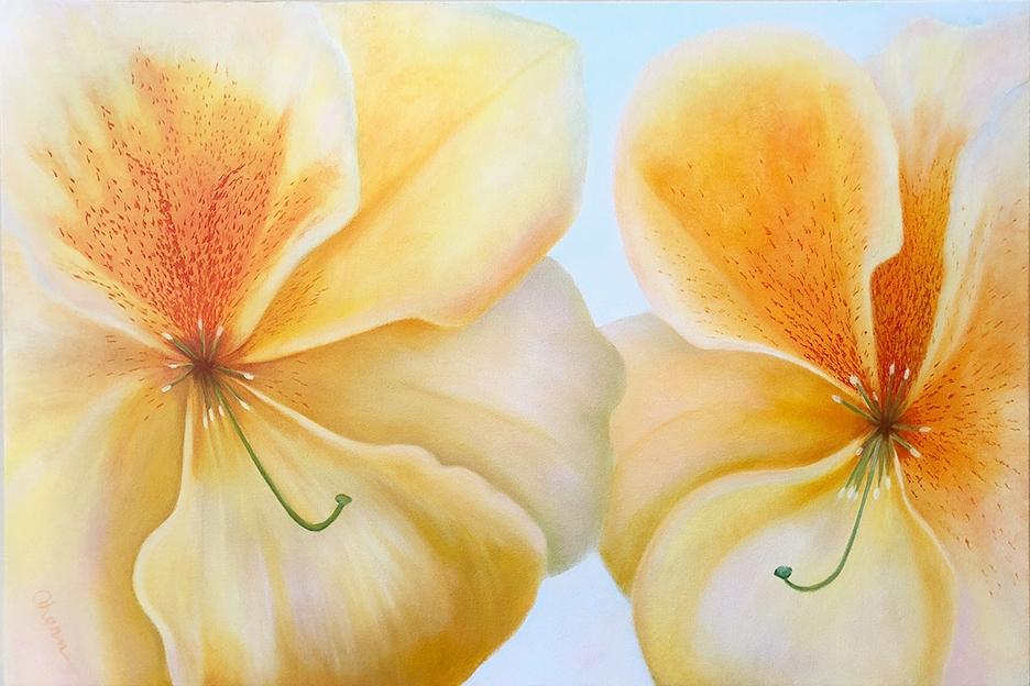 "Together Again-Peach Freckles 24x36"" GW Oil on Canvas. Mary Ahern Artist."