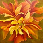 "Pay Attention Here - Orange Hibiscus 36x36"" GW Oil on Canvas. $5,000 by the artist, Mary Ahern"