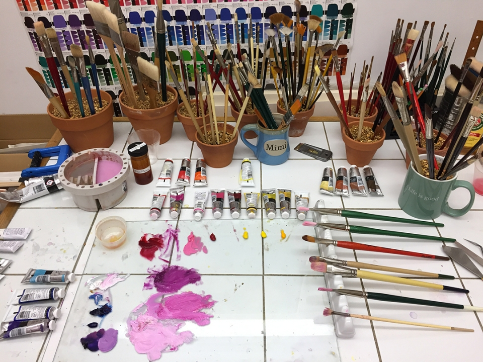 Oil Painting Palette in the studio of Mary Ahern