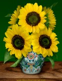 Sunflowers in Makkum Pot - Homage to van Gogh