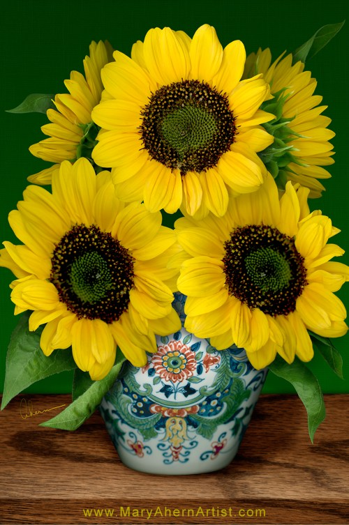 Sunflowers in Makkum Pot - Homage to van Gogh. Art by Mary Ahern the Artist.