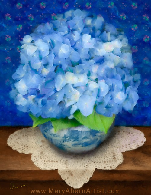 Delft Blue Hydrangea by the Artist, Mary Ahern