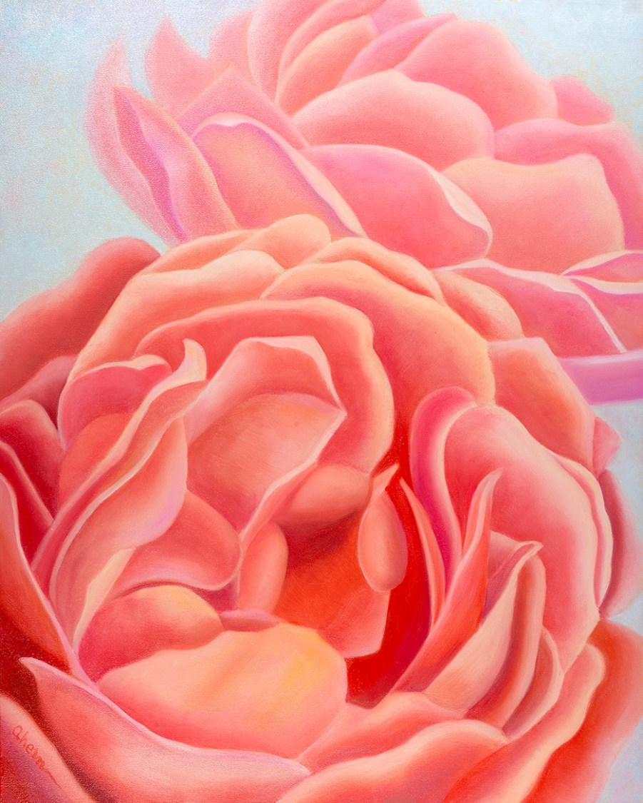 We Are Sisters - Coral Roses. Original Oil painting on canvas by the artist, Mary Ahern.