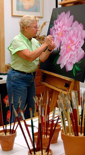 Mary Ahern Artist in the studio