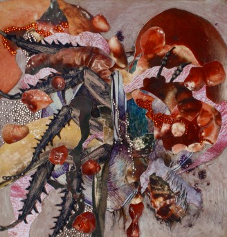 """""""Juglandatteria"""";Mulberry juice, mulberries, grape juice, digitally altered photographs, ink, colored pencil and rhinestones on paper; 21 x 21 cm.; 2014"""