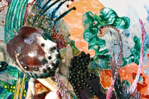 """Nymhaea"";Grape skin, grape juice, lotus petal, digitally altered photographs, ink and rhinestones, on paper; 21 x 21 cm.; 2014"