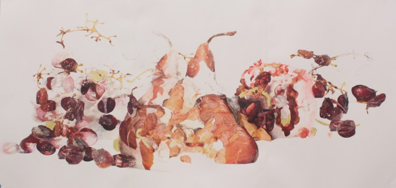 """Title: """"Grapes, Pear and Pomegranate Rot and Repose"""" Medium: Digitally altered photographs, acetone photograph transfer, colored pencil, ink, faux and 18 karat gold leaf on paper. Dimensions: 44"""" x 89"""" Year: 2011"""
