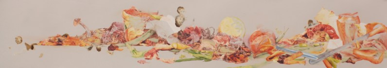 """Title: """"Ingredients"""" Medium: Decomposing organic materials, digitally altered photographs, acetone photograph transfer, colored pencil, and ink on paper. Dimensions: 14.25"""" x 71.5"""" Year: 2012"""