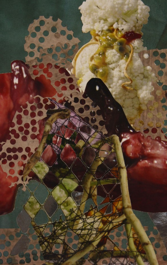 """""""Tablescape of Liver and Silver"""" 2017; Emperor rice dye, blue cabbage dye, rice and metallic papers, and ink jet prints on paper. 62.5 x 19 cm."""