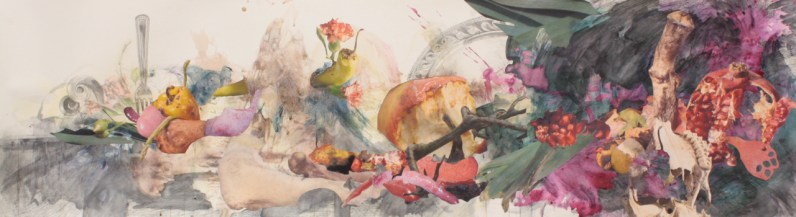 """Title: """"Bulbouscarcinotopia"""" Medium: Red and yellow beet dye, concord grapes, pomegranate, acetone photograph transfer, colored pencil, graphite, digitally altered photographs and ink on paper. Dimensions: 16"""" x 72"""" Year: 2012"""