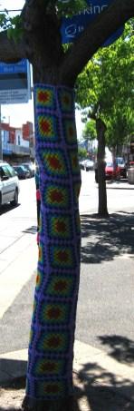 Yarn Bombing Guerilla Knitting crochet sleeve for street tree, Is It Art?, Maryann Adair,