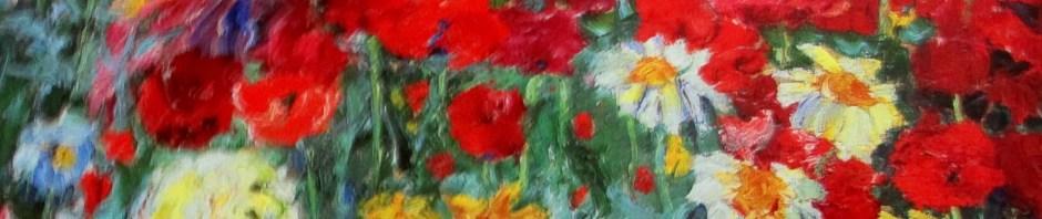 Emil Nolde - blumengarten frau in rot-violettem kleid