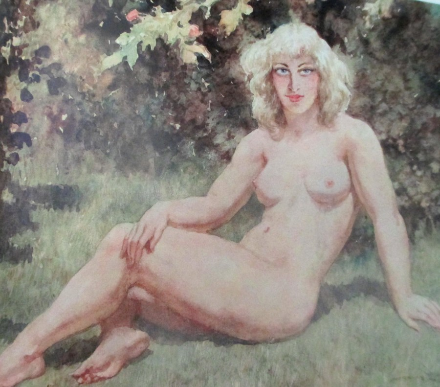 Norman Alfred Williams Lindsay | Seated Nude in a Garden