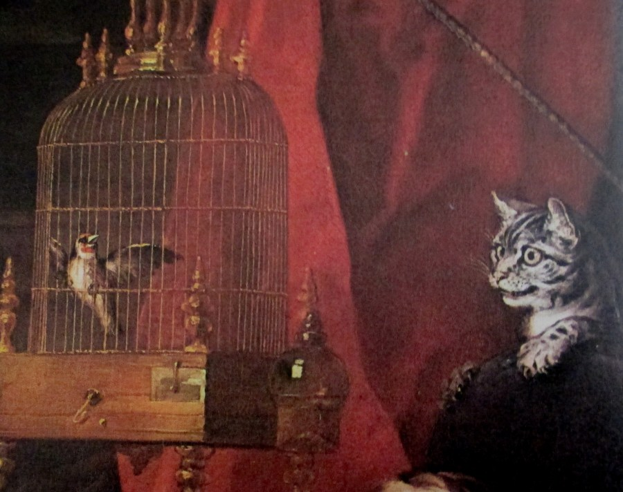 William Hogarth   Detail Of A Cat And Bird Cage From The Graham Children (1742)
