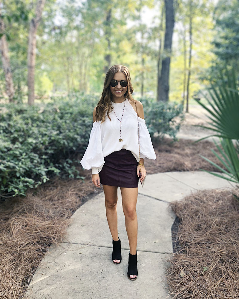8f2fda9c473 maroon white game day outfit -free people leather skirt - free people catch  a glimpse
